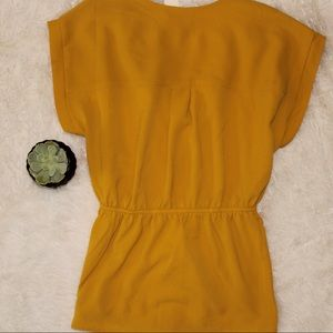 Monteau Tops - Golden Mustard Yellow Belted Blouse